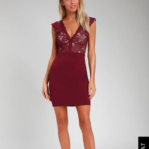 LuLu's Red lace bust bodycon dress